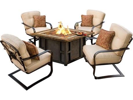 Oakland Living Maris Antique Bronze Aluminum 5 Piece Firepit Lounge Set