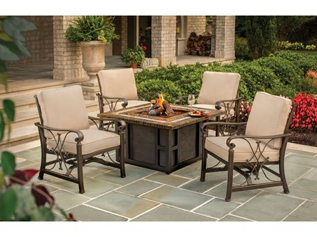 Oakland Living Goldie's Gas Firepit Table with Four Cushioned Spring Rocking Deep Seating Chairs