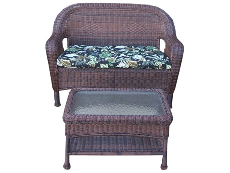 Oakland Living Resin Wicker 2 Pc. Loveseat and Coffee Table Set un Coffee