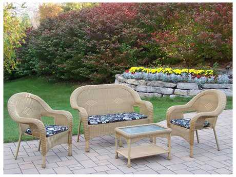 Oakland Living Resin Wicker 4 Pc. Seating Set