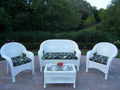 Oakland Living Resin Wicker 4 Pc. Seating Set in White