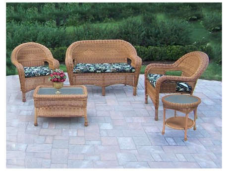 Oakland Living Resin Wicker 5 Pc. Seating Set in Natural