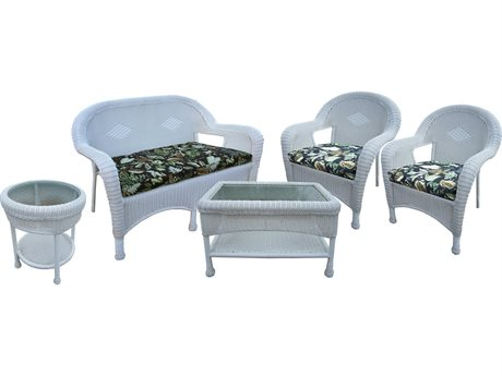 Oakland Living Resin Wicker 5 Pc. Seating Set in White