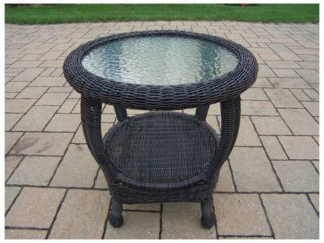 Oakland Living Resin Wicker 22 Round End Table