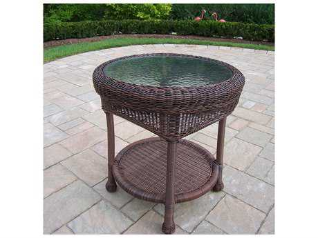 Oakland Living Resin Wicker 21 Round Glass End Table in Coffee