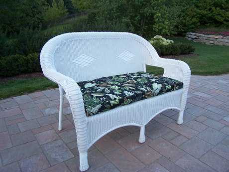 Oakland Living Resin Wicker Loveseat with Cushion in White