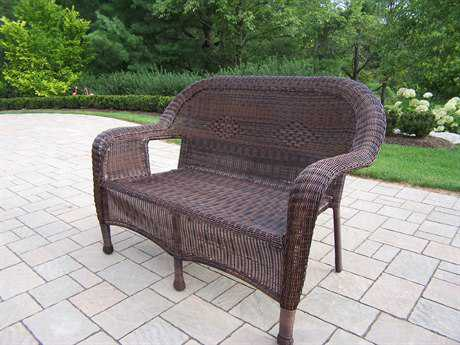 Oakland Living Resin Wicker Loveseat in Coffee PatioLiving