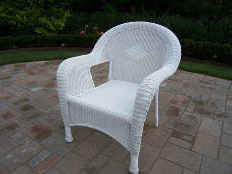 Oakland Living Resin Wicker Arm Chairs Pair of 2
