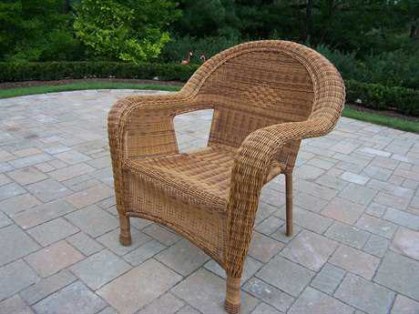 Oakland Living Resin Wicker Pair 2 Arm Dining Chair