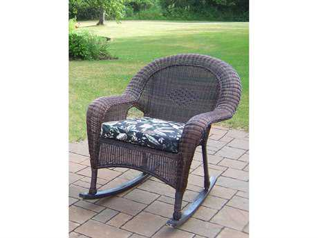 Oakland Living Resin Wicker Rockers Pair of Cushioned 2