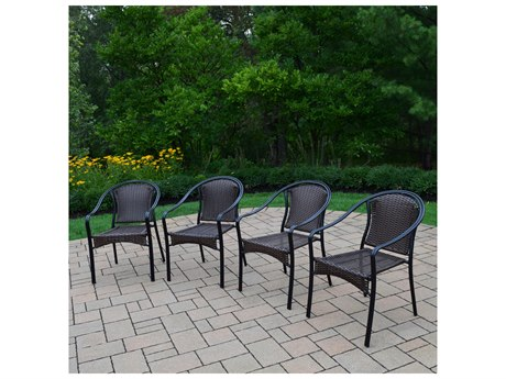 Oakland Living Tuscany Wicker Woven 4 Stackable Chairs Pack of 4