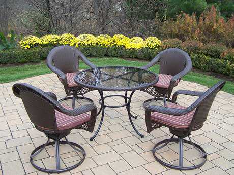 Oakland Living Elite Resin Wicker 5 Pc. Swivel Dining Set