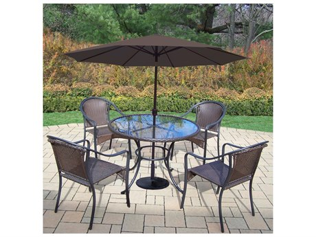 Oakland Living Elite Resin Wicker 7 Pc. Dining Set with 42-inch Table