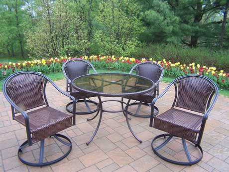 Oakland Living Elite Tuscany Resin Wicker 5 Pc. Swivel Dining Set