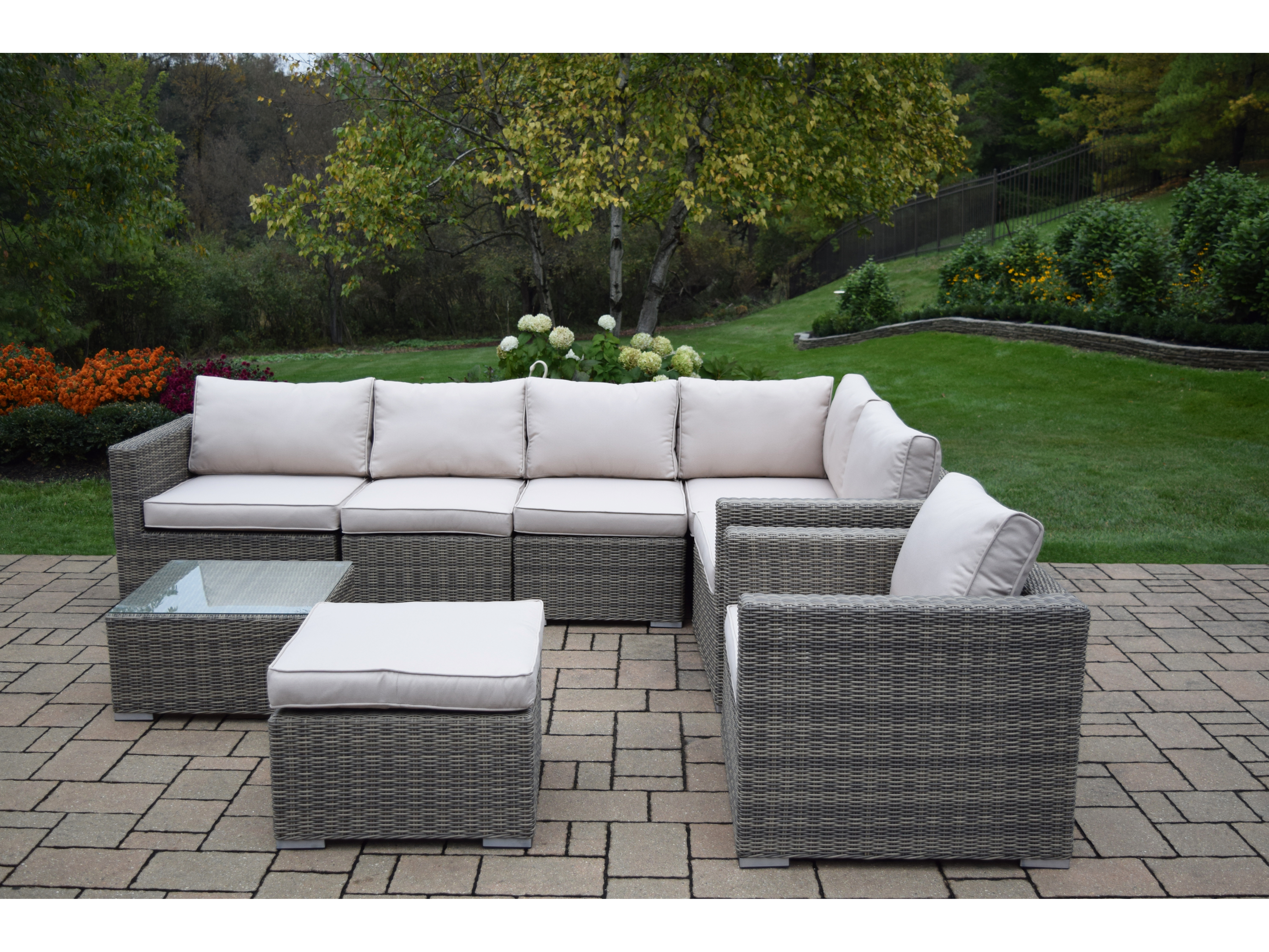 Astonishing Oakland Living Borneo Modular All Weather Resin Wicker Sectional Zipper Cushioned 8 Pcs Deep Seat Sofa Set Including A Club Chair Ottoman Coffee Ibusinesslaw Wood Chair Design Ideas Ibusinesslaworg