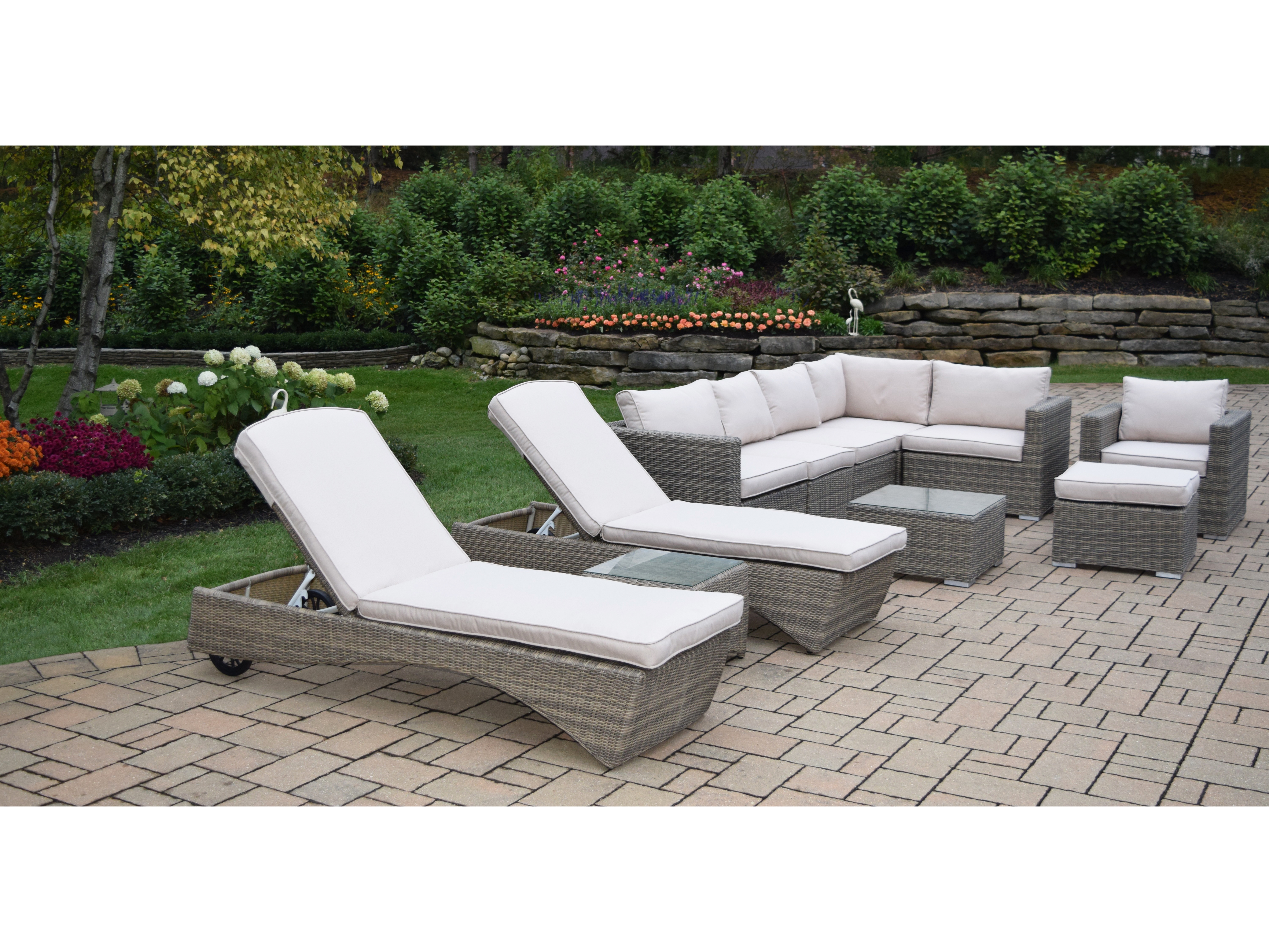 Cool Oakland Living Borneo Modular All Weather Resin Wicker Sectional Deep Seat Zipper Cushioned 11 Pcs Sofa Set Including A Club Chair Ottoman Coffee Bralicious Painted Fabric Chair Ideas Braliciousco