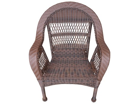 Oakland Living Coffee Wicker Dining Arm Chair