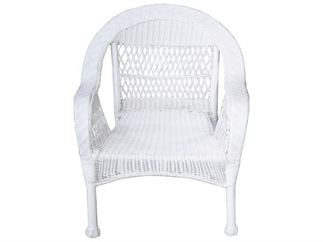 Oakland Living White Wicker Dining Arm Chair