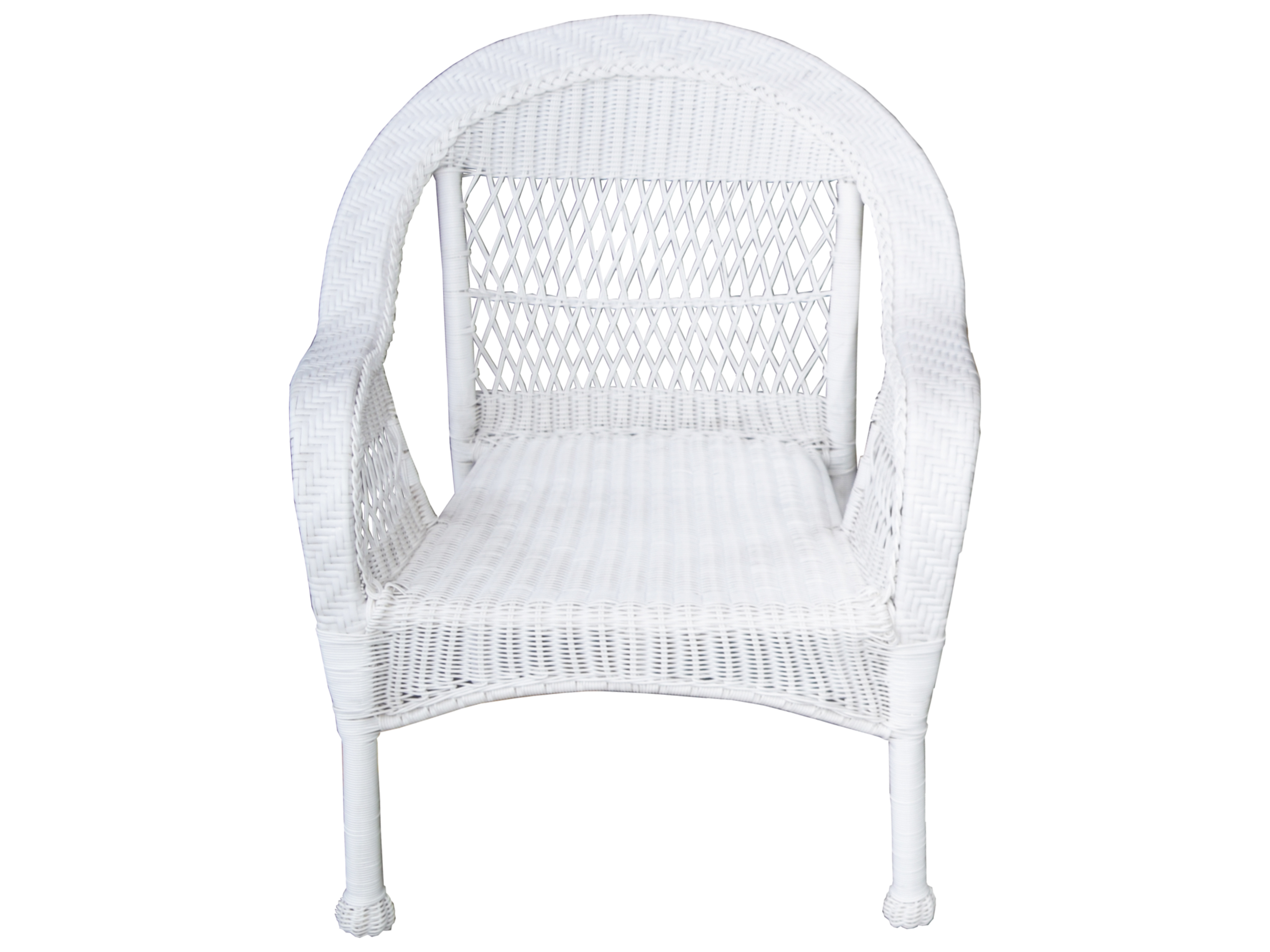 Oakland Living White Wicker Dining Arm Chair 9999 Chair Wt
