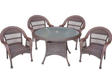 Oakland Living Coffee Wicker 5 Piece Dining Set