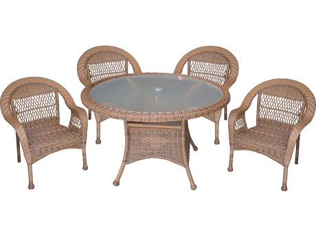 Oakland Living Natural Wicker 5 Piece Dining Set