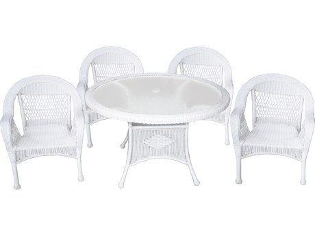 Oakland Living White Wicker 5 Piece Dining Set