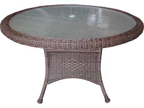 Oakland Living Coffee Wicker 48''Wide Round Dining Table