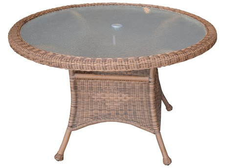 Oakland Living Natural Wicker 48''Wide Round Dining Table