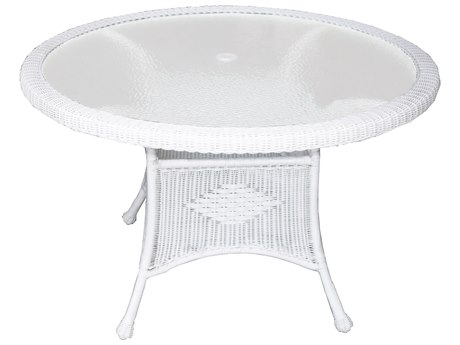 Oakland Living White Wicker 48''Wide Round Dining Table