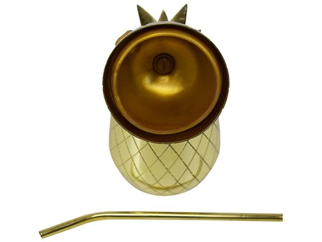 Oakland Living Brass Gold Stainless Steel Pineapple Tumbler Shaker Mug with Straw