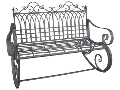 Oakland Living Ornate Antique Grey Steel Iron Porch Garden Rocking Bench Loveseat