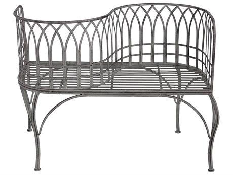Oakland Living Antique Grey Steel Iron Porch Garden Park Curved Unique Bench