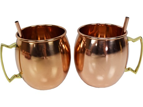 Oakland Living Copper Stainless Steel Round Pair Moscow Mule Mug Cups in Smooth Handcrafted