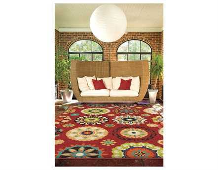 Orian Rugs Veranda Hubbard Rectangular Brick Red Area Rug