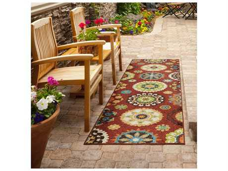 Orian Rugs Veranda Hubbard Rectangular Brick Red Runner Rug
