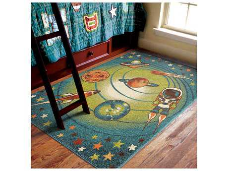 Orian Rugs Kids Court Rectangular Galaxy Blue Area Rug