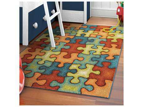Orian Rugs Kids Court Rectangular I'm Puzzled Rainbow Blue Area Rug