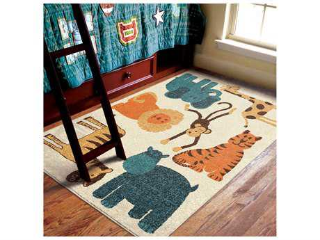 Orian Rugs Kids Court Rectangular Safari Beige Area Rug