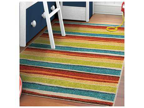 Orian Rugs Kids Court Rectangular Summertime Red Area Rug