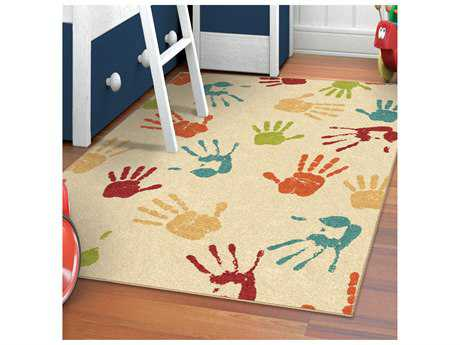 Orian Rugs Kids Court Rectangular Handprints Ivory Area Rug