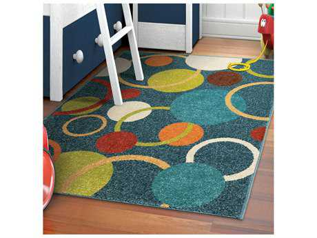 Orian Rugs Kids Court Rectangular Gumball Admiral Blue Area Rug