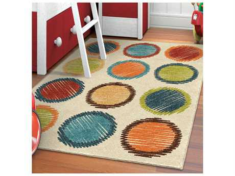 Orian Rugs Kids Court Polka Dots Ivory Rectangular Area Rug