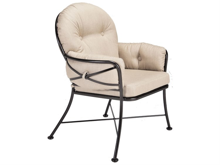 OW Lee Cambria Wrought Iron Club Dining Arm Chair PatioLiving