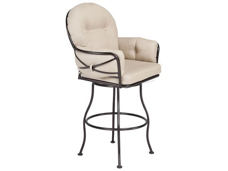 OW Lee Cambria Wrought Iron Swivel Bar Stool