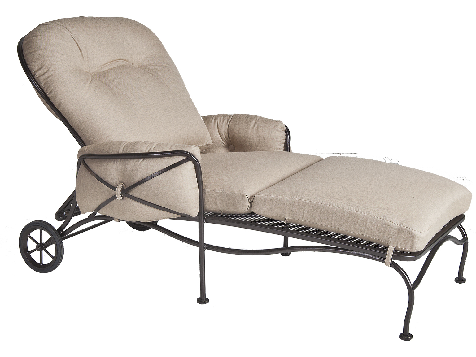Ow lee cambria wrought iron adjustable chaise 17138 ch for Black wrought iron chaise lounge