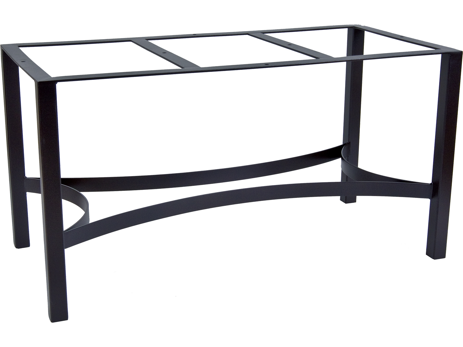 Ow lee palazzo wrought iron dining table rectangular base for Outdoor table bases wrought iron