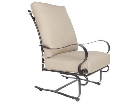 OW Lee Marquette Wrought Iron Hi-Back Spring Base Lounge Chair
