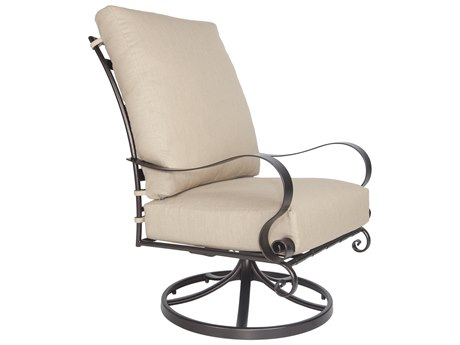 OW Lee Marquette Wrought Iron Hi-Back Swivel Rocker Lounge Chair