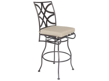 OW Lee Marquette Wrought Iron Armless Swivel Bar Stool