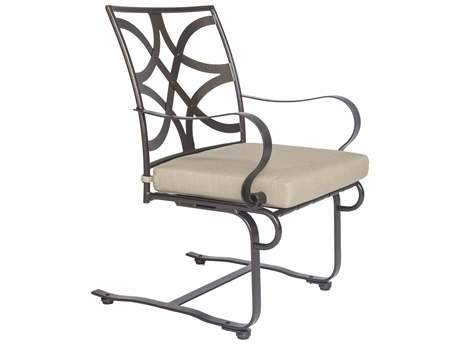 OW Lee Marquette Wrought Iron Spring Base Dining Arm Chair
